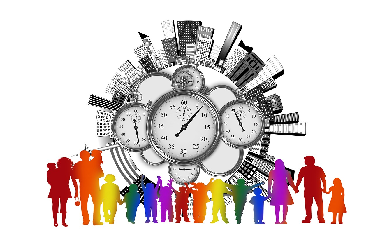 office buildings, time clocks, families